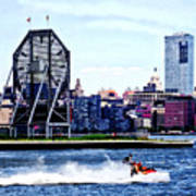 Jet Skiing By Colgate Clock Poster