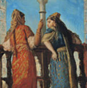 Jewish Women At The Balcony In Algiers Poster by Theodore Chasseriau