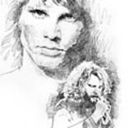 Jim Morrison Faces Poster by David Lloyd Glover