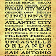 Jimmy Buffett Margaritaville Locations Black Font On Yellow Brown Texture Poster