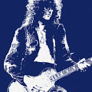Jimmy Page In Blue Portrait Poster