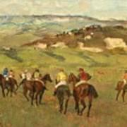 Jockeys On Horseback Before Distant Hills Poster by Edgar Degas