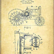 John Deere Tractor Patent Drawing From 1934 - Vintage Poster
