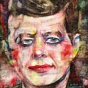 John F. Kennedy - Watercolor Portrait.3 Poster