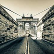 John Roebling Bridge Entrance - Cincinnati Ohio Sepia Print Poster