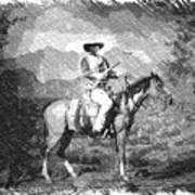 John Wayne At The Ready On Horseback Pa 01 Poster
