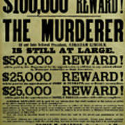 John Wilkes Booth Wanted Poster Poster by War Is Hell Store