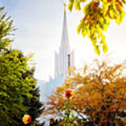 Jordan River Temple Rose Poster by La Rae  Roberts