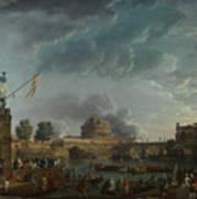 Joseph Vernet   A Sporting Contest On The Tiber At Rome Poster