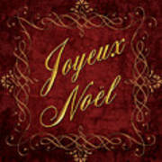 Joyeux Noel In Red And Gold Poster