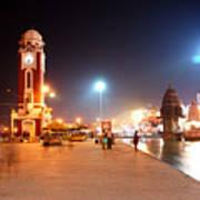 Jp025 The Clock Tower On The Malviya Dwipa At Har-ki-pauri Poster