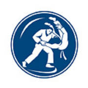 Judo Combatants Throw Circle Icon Poster