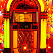 Juke Box With Christmas Lights Poster
