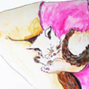July Kitty In Rachaels Lap Poster