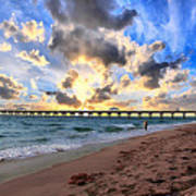 Juno Beach Pier Florida Sunrise Seascape D7 Poster