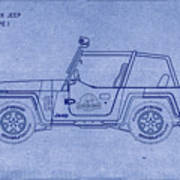 Jurassic Park Jeep Blueprint Poster