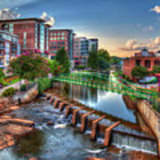 Just Before Sunset 2 Reedy River Falls Park Greenville South Carolina Art Poster