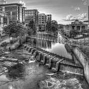 Just Before Sunset B W Reedy River Falls Park Greenville South Carolina Art Poster