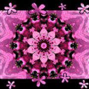 Kaleidoscope 1 With Black Flower Framing Poster