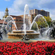 Kansas City Fountain Ablaze In Crimson Poster