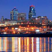 Kansas City Missouri Skyline At Night Poster