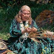 Kashia Pomo Woman Weaving Basket Poster