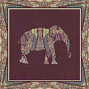 Kashmir Patterned Elephant 2 - Boho Tribal Home Decor  Poster