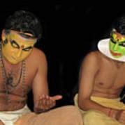 Kathakali Dancers Getting Ready Poster