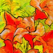 Kathies Daylilies Fine Art Painting North Carolina Poster