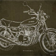 Kawasaki Motorcycle Blueprint, Mid Century Brown Art Print Poster