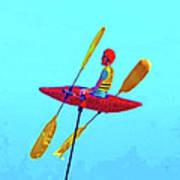 Kayak Guy On A Stick Poster