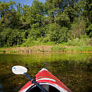 Kayak On A Forested Lake Poster