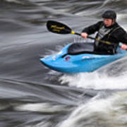 Kayaker Riding The Flow Of The Shannon River Limerick Ireland Poster