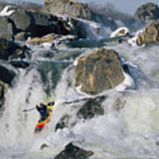 Kayaker Running Great Falls Poster