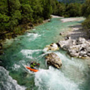 Kayaker Shooting The Cold Emerald Green Alpine Water Of The Uppe Poster