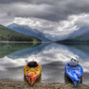 Kayaks On Bowman Lake Poster by Donna Caplinger