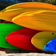 Kayaks On The Beach Poster