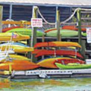 Kayaks Stacked On Shem Creek Poster