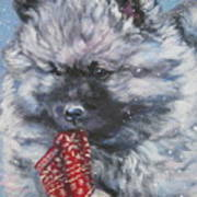 Keeshond Puppy With Christmas Stocking Poster