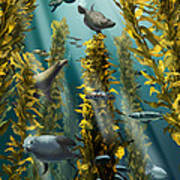 Kelp Forest With Seals Poster