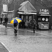 Kendall Square Rainy Day Cambridge Ma Blue And Yellow Poster