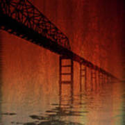 Key Bridge Artistic  In Baltimore Maryland Poster by Skip Willits