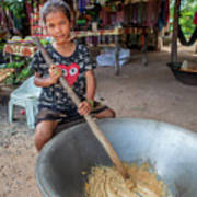 Khmer Girl Makes Sugar Cane Candy Poster