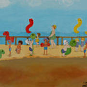 Kids At The Beach Poster
