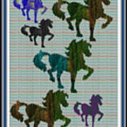 Kids Fun Gallery Horse Prancing Art Made Of Jungle Green Wild Colors Poster