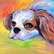 King Charles Cavalier Spaniel Dog Painting Poster