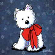 Kiniart Westie In Red Bow Poster