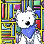 Kiniart Westie Stained Glass Poster