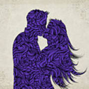 Kissing Couple Silhouette Ultraviolet Poster