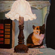 Kitten By The Lamp Poster